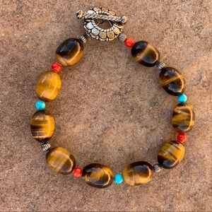 Tiger's Eye Bracelet with Turquoise and Coral